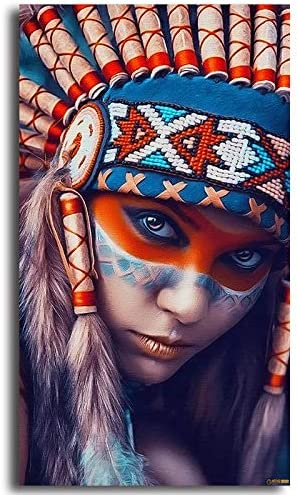 Faicai Art Indian Woman Girl Paintings Native American Wall Art Canvas Prints HD Colorful Printings Modern Black Art Wall Decor Posters Picture