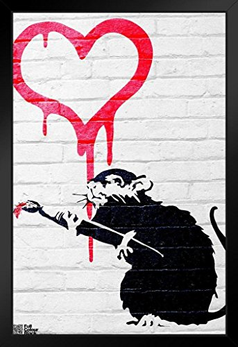 Pyramid America Love Rat Banksy Graffiti Art Black Wood Framed Poster 14×20 inch