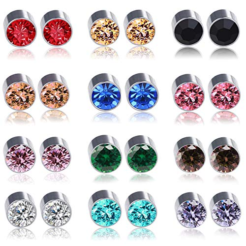 Spiritlele 12 Pairs Colors Crystal Magnetic Earrings Fake Non Piercing Earrings Set (12 colors)