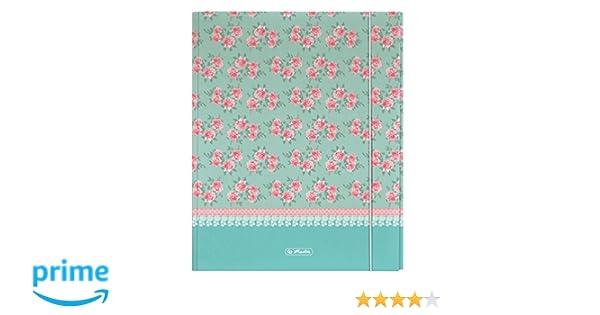 Herlitz 11223872 - Carpeta de gomas (A4, tamaño XL), diseño de flores: Amazon.es: Oficina y papelería