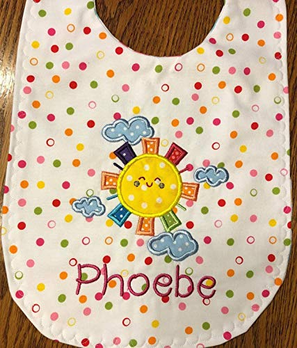 Personalized sunshine applique baby bib, detachable bow, plastic snaps