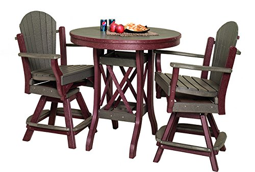 Poly Patio Set - 1 Round Balcony Table & 4 Fanback Swivel Chairs in Cedar & Brown - Amish Made