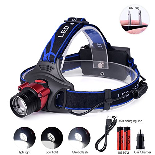 TSLEEN Rechargeable Headlamp Infrared Sensing 18650/AA LED Torch Zoomable Cree T6 Headlight US Wall/Car Charger Included