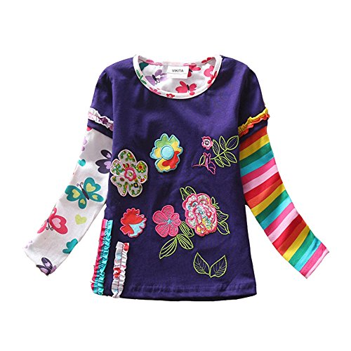 VIKITA 2017 Girls Rainbow Stripe Flower Cotton T Shirt Tee Long Sleeve Clothes For 2-6 Years (5T, Purple) (Kids Long 2 Sleeve T-shirt)