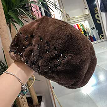 Winter Ladies New Warm Whole Suede Water Mane Hat Soft Body Ear Beret Nail Beads Rhinestone Elegant Brown