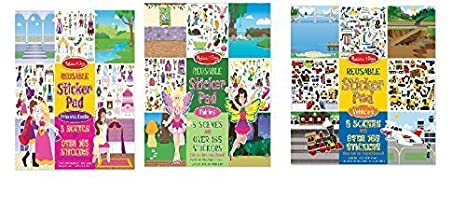 Melissa Doug Bundle Of 3 Reusable Sticker Pads Fairies Princess Castle Vehicles