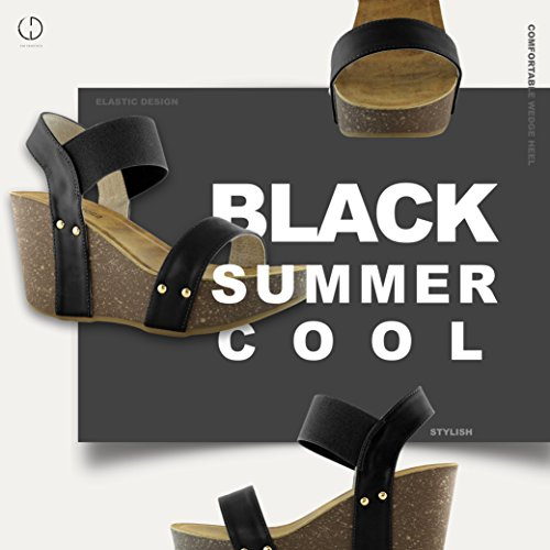 On Comfort DailyShoes Shoes Slide Pu Black Ankle Wedge Buckle Platform Strap Women's Sandal Elastic xqwxTRB1