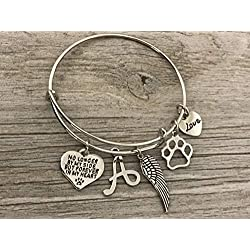 Personalized Dog Memorial Bracelet with Letter Charm, Custom Dog Charm Jewelry - Paw Print Jewelry- Dog Lovers Bracelet- Dog Owner Bangle -Perfect Gift for Dog Lovers