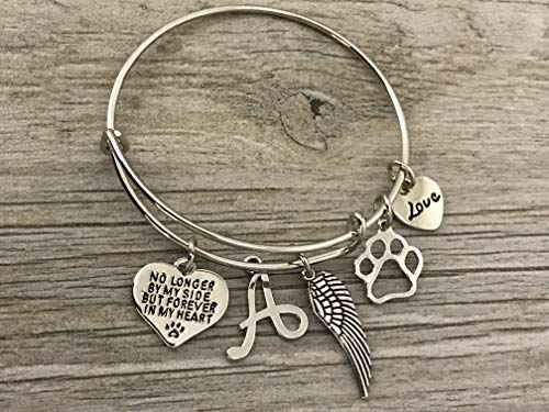 Personalized Dog Memorial Bracelet with Letter Charm, Custom...