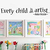 MoharWall Baby Room Wall Decal Quotes Every Child is an Artist Vinyl Wall Art Picasso Saying Kids Nursery Decoration