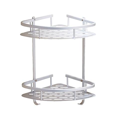 Rinconera de baño Multiply-X, estante para ducha de aleación de aluminio anodizado, con 2 estantes, montaje en pared, capacidad para jabón, champú y ...