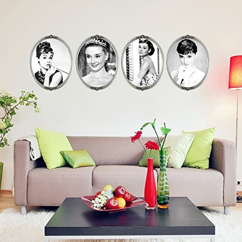 Lankey DIY Removable Wall Art Stickers Classic Audrey Hepburn (Audrey Hepburn Decor)