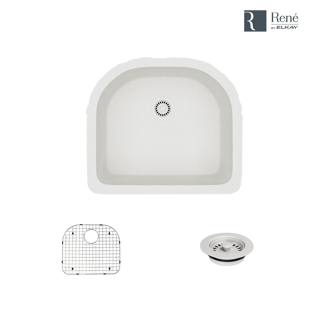 R3-1005-IVR-ST-CGF Ivory D-Bowl Quartz Kitchen Sink with Grid and Matching Colored Flange