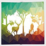 Cotton Microfiber Hand Towel,Wildlife Decor,Fractal Deer Family Geometric Cut Shapes Hunt Adventure Themed Desert Eco Graphic,Multi,for Kids, Teens, and Adults,One Side Printing