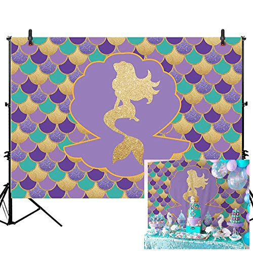 Allenjoy 7x5ft Under The Sea Little Mermaid Backdrop Glare Glitter Gold Purple Mermaid Scales Photography Background Kids Girls Princess Birthday Party Banner Newborn Baby Shower Decoration Props
