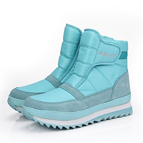 Cotton Boots Booties Ankle Snow Shoes Warm Lining Top Blue Gracosy High Women's Light Snow Winter qF7wnxnXAP