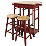 kitchen island design ideas Casual Home Drop Leaf Breakfast Cart with 2 Stools-Red