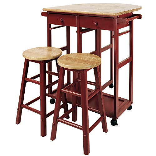 (Casual Home Drop Leaf Breakfast Cart with 2 Stools-Red)