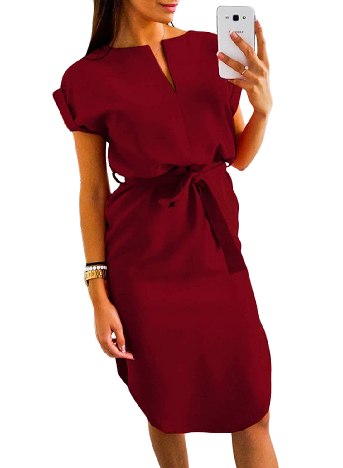 45d3d491ffe Bdcoco Women s Cold Shoulder Bodycon Button Down Flare Sleeves Split Midi  Dress at Amazon Women s Clothing store