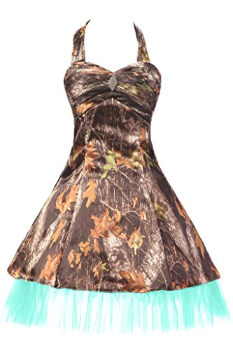 Sunvary Military Camouflage Tulle Mini Pageant Party Homecoming Prom Dresses Bridesmaid Size 2 Camouflage and Aqua