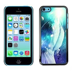 Smartphone Rígido Protección única Imagen Carcasa Funda Tapa Skin Case Para Apple Iphone 5C Music Splash / STRONG