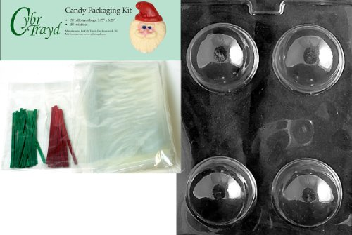 Cybrtrayd MdK50C-C426 Snow Globe Mold Christmas Chocolate Mold with Chocolate Packaging Kit and Molding Instructions, Includes 50 Cello Bags, 25 Red and 25 Green Twist (Chocolate Snowglobe)