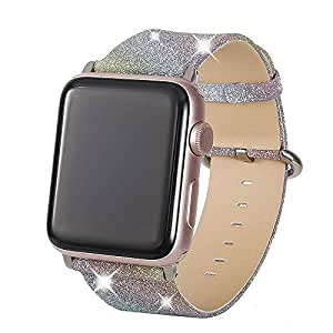 Henstar Compatible with Apple Watch Band 42mm 44mm,Women Genuine Leather Shiny Bling Glitter Sparkly Strap Wristband Compatible with iWatch Series ...