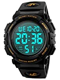 Men's Digital Sports Watch LED Military 50M Waterproof Watches Outdoor Electronic Army Alarm Stopwatch Gold