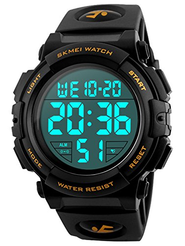 Men's Digital Sports Watch LED Military 50M Waterproof Watches Outdoor Electronic Army Alarm Stopwatch Gold (Large Watch Date)