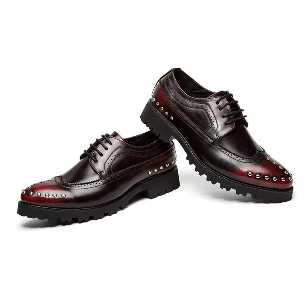 Color : Red, Size : 7 D Hilotu Clearance Cool Shoes for Mens Business Oxford Casual Fashion Personality Retro Wipe Color Rivets Brogue Shoes US M