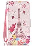iPod Touch 5 Wallet Case,iPod Touch 6 Case,iPod 5 Case,Voanice PU Leather with Kickstand Card Holder Slot Flip Cover Girls Kids&Hand Strap Shockproof for iPod Touch 6 /5th Generation&Stylus-Iron tower