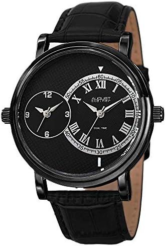 August Steiner Men s Dual Time Zone Watch – Unique Design 2 Round Dials 1 with Roman Numerals On Croco-Textured Genuine Leather – AS8146