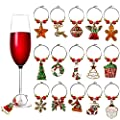 16 Pack Wine Glass Charms Christmas Themed Wine Glass Markers Tags, Drink Markers Wine Accessories for Christmas Party Favors Supplies (16 Styles)