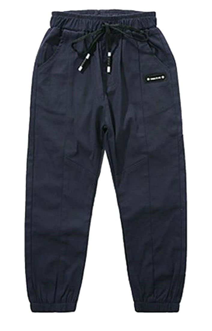 Wofupowga Boys Jogger Pants Slim Active Drawstring Elastic Rise Casual Pant