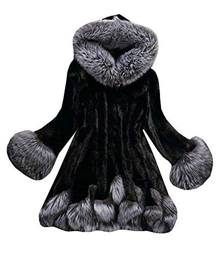 Baifern Women's Faux Fur Hooded Outerwear Coats Plus Size – Small, Black