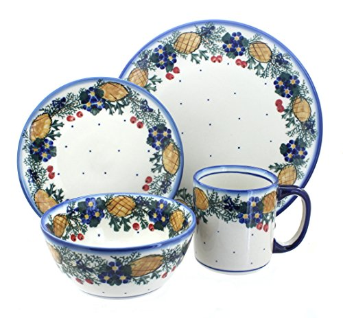 Blue Rose Polish Pottery Pinecone 16 Piece Dinner Set - Pottery Pinecone