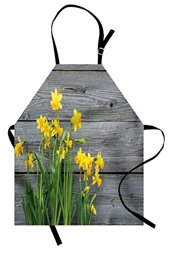 Ambesonne Yellow Flower Apron, Bouquet of Daffodils on Wood Planks Gardening Rustic Country Life Theme, Unisex Kitchen Bib Apron with Adjustable Neck for Cooking Baking Gardening, Yellow Grey ()