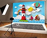 LFEEY Cartoon Sea Style Photography Background 5x3ft Lighthouse Sun Hot Air Balloon Sailboat Rainbow Wave Kid Baby Infant Boy Studio Props Video Drape Wallpaper
