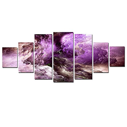 Startonight Glow in the Dark, Huge Canvas Wall Art Inspirational Purple Abstract, Home Decor, Dual View Surprise Artwork Modern Framed Wall Art Set of 7 Panels Total 39.37 x 94.49 inch by Startonight