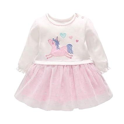Vestidos Niña, Bebé Manga Larga Algodón Ropa Recién Nacido Pony ...