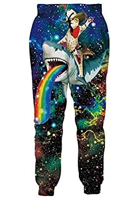 RAISEVERN Unisex Captain Cat & Rainbow Shark/Taco Cat Tank Tops, T-Shirt, Button Shirts, Swim Trunks, Jogger Pants for Men