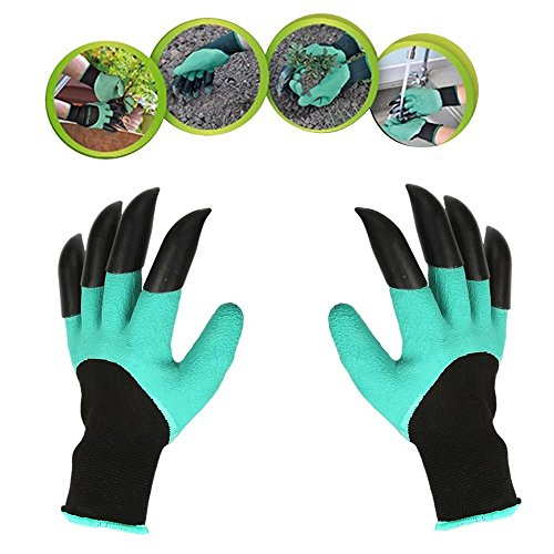 Garden Digging Gloves Claw Tools - QIYAT Garden Genie Gloves with Fingertips Uniex Claws on Two Hands Quick Easy Dig Plant Safe for Pruning - As Seen On TV