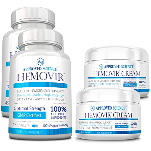 Hemovir - Best Hemorrhoid & Fissure Treatment for Rapid Healing; Reduce Itching, Irritation, Bleeding & Burning ! 100% Natural Ingredients - 2 Bottles & 2 Creams