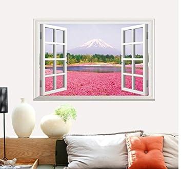 WXD Fiori rosa 3d finte finestre paesaggio adesivo parete verde ...