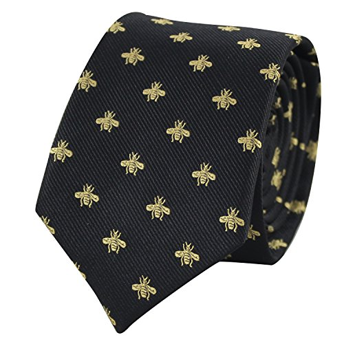 Bee Necktie With Box Microfiber Jacquard Gold Bee Pattern tie