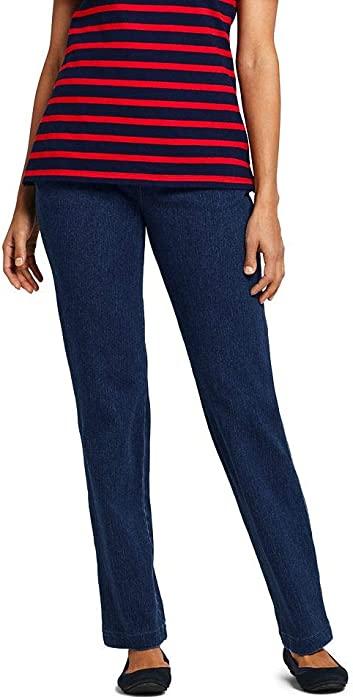 80d3d6118c008 Lands  End Women s Tall Sport Knit Elastic Waist Pants High Rise Denim