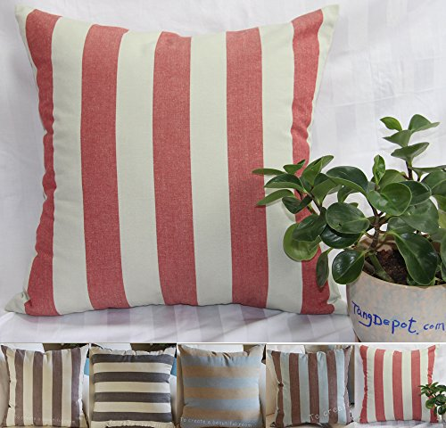 handmade striped cotton throw pillow covers pillow shams 5 color and 10 size options blackbeige blueyellow brownbeige brownblue redgray