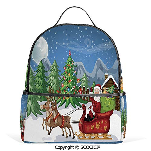 Hot Sale Backpack outdoor travel Country Landscape at Night with Trees Santa Claus Snowdrift Reindeers Mountains Decorative,Multicolor,With Water Bottle Pockets ()