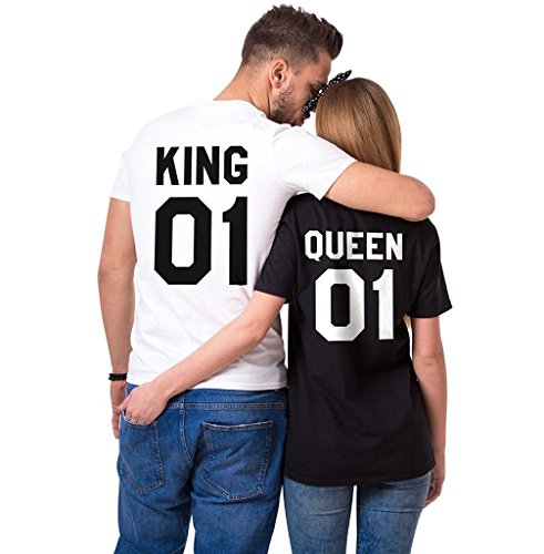 Cute Outfits For Couples (King 01 Queen 01 Matching T-Shirts, Couple Outfit (White/Black)-L/XL)