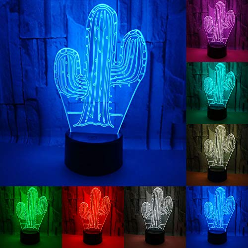 JAYLONG 3D Visual Night Lamp, Creative LED 3W Night Lights For Kids, Cactus...